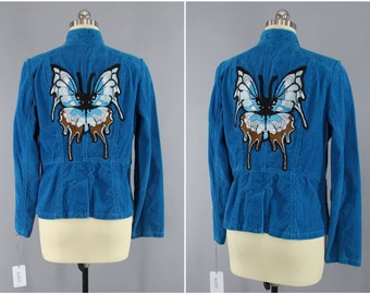 Aqua Butterfly Embroidered Jacket / Blue Corduroy Blazer / Giant Butterfly Embroidery / Size Medium Large