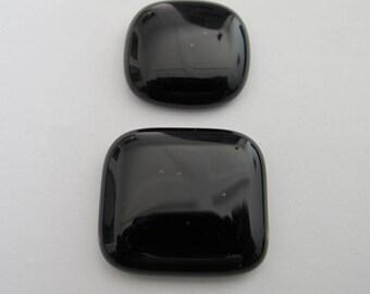 Two Fused  Square Freeform Black Cabochons