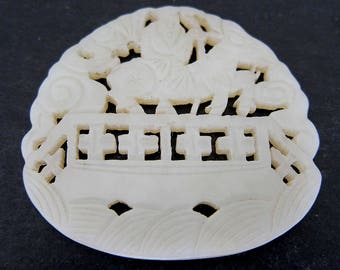 Antique Open Work White Jade Plaque-Sage On Donkey Crossing Bridge