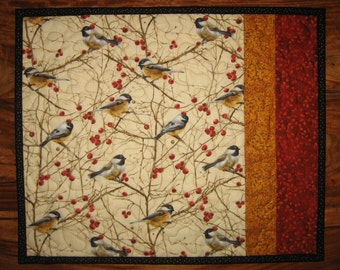 """Reserved for Jean - 21 x 21"""" Chickadee Bird Quilted Table Topper"""