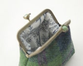 NEW Bronze metal frame coin purse/ green pearls / Green, blue and purple check Harris tweed/ Liberty tana lawn
