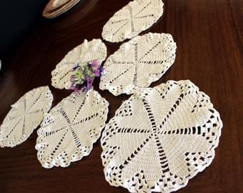 Crochet Lace Doilies - 6 Beautiful Matching White Vintage Lot 13791