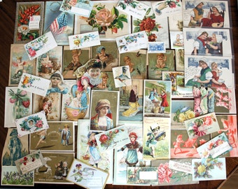 60 Victorian Trade Cards, Antique Images Lot, Original Cards Cut From Albums, Die Cuts, 13902