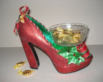 Festive Red holiday high heel candy dish