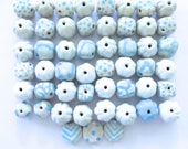 Kazuri Beads, 50 Kazuri Beads, Blue and Cream Ceramic Beads, Kazuri African Beads
