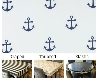 Laminated cotton aka oilcloth tablecloth custom size and fit choose elastic, tailored, or draped, large navy blue anchors on white