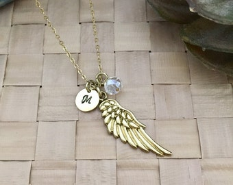 Wing Necklace, Initial Necklace, Hand stamped Necklace, Gift for her, Handmade Jewelry
