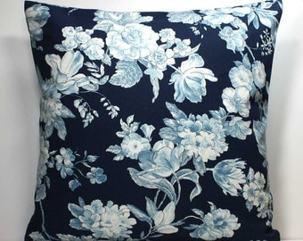 16 x 16 inch OR 18 x 18 inch Decorative Throw Pillow Cover - Roses on Navy Blue - Invisible Zipper Closure
