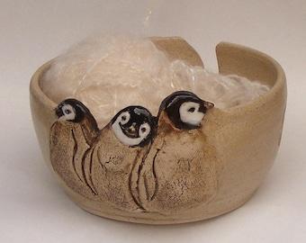Baby Penguins Yarn bowl No.4, Stoneware Ceramic Yarn Bowl,