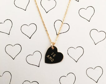 TE AMO Heart Charm Necklace