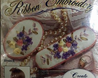 Bucilla Ribbon Embroidery kit 1994 unopened package brooch barette