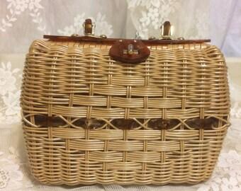 Stunning  Wicker and Lucite Handbag
