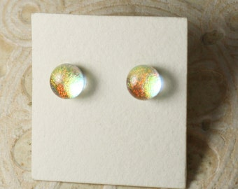 """Dichroic Glass Earrings Gold & Copper Red  5/16"""" DGE-902"""
