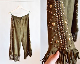 Vintage 1970s STUDDED and fringed leather culottes