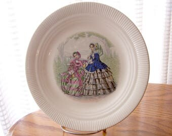 Vintage Godey Prints Plate with Victorian Ladies in Pink and Blue Dresses Salem China Co.