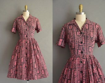 Mode O Day 50s Bamboo pink and black cotton print vintage dress. vintage 1950s dress