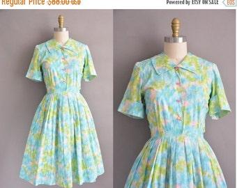 20% OFF SHOP SALE... 50s cotton water color print vintage dress / vintage 1950s dress