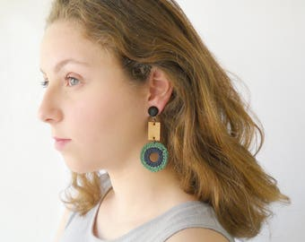 Large fiber earrings green and wood, long Statement hoop earrings, Bold geometric Trendy fashion jewelry