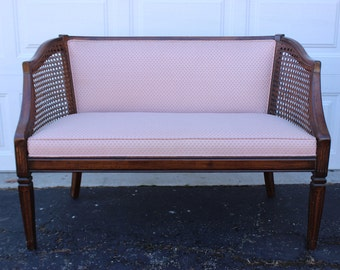 Mid Century Modern Vintage Retro Pink Cane Chair Loveseat