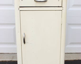 mid century vintage white metal chrome vintage kitchen storage cabinet counter formica speckled white top