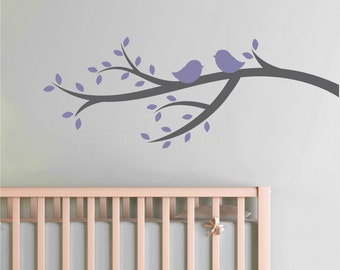 Tree Branch Wall Decals - Tree Branch Birds Decals - Kids Room Tree Branch Decals - Birds on Branch Decal - Vinyl Wall Decals