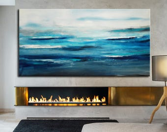 Blue ocean Large Abstract Painting, Original Painting, made to order custom size, Sea ocean painting, seascape vibrant blue art, water