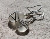 Genuine Sea Glass Earrings - Glowing Frosty White Sea Glass Earrings