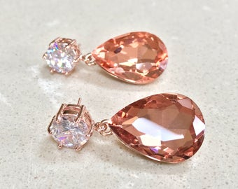 Peach Crystal Bridal Earrings Rose Gold Swarovski Crystal Earrings Peach Earrings Bridesmaids Jewelry Wedding Jewelry Vintage Inspired