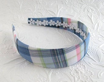 Preppy Plaid Fabric Covered Plastic Headband for Girls, Tween, Teens, Adults, Women