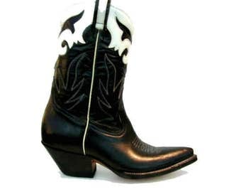 Vintage Cowboy Boots Womens Rancho Loco Black and White Leather Peewee Western Boots Fits Wms US Size 9