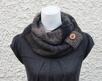 SCARF, infinity scarf knitted, snood, dark brown scarf, neckwear, gift for her, scarf uk