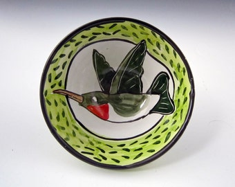 Small Ceramic Bowl - Hummingbird Bird - Pottery Bowl - Cereal Bowl - Majolica - Green Red White Blue - Clay dish - Child's Bowl - Dish