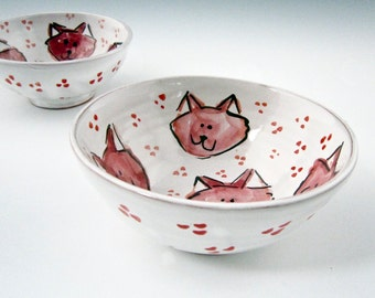 Small Ceramic Bowl - Pink Kitty Cats - Handmade Clay Pottery Bowl - Majolica Prep Cereal Bowl - Small Dish - Pet Food Bowl - Ice cream dish