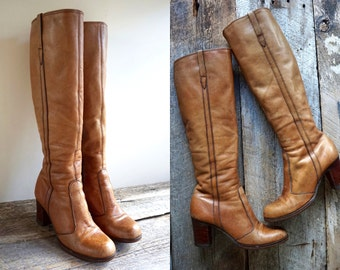 Tall Campus Boots Sz 6  //  70s Leather Boots Sz 36   //  LOS CAMPOSE