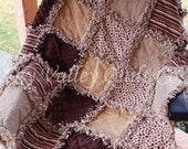 Pre Cut Rag quilt KIT or Layer Cake- brown and tans, dots and stripes