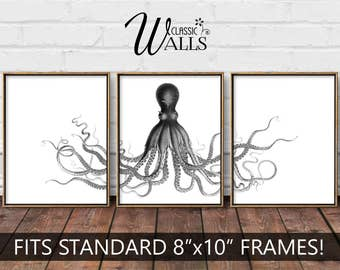 OCTOPUS ART, Octopus Print, Vintage Octopus Drawing, Octopus Home Decor, Nautical Wall Art, Beach Decor, Octopus Triptych, Octopus Wall Art