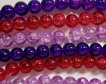 Crackle Glass Bead Mix, 3 Strand Mix, 10mm Crackle Glass Beads, Purple and Red Mix, Glass Bead Lot, Assorted Glass Beads
