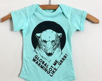 Polar Bear Bodysuit, Baby Clothing, Screenprinted, Environmental