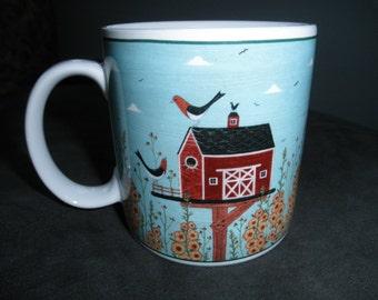 Vintage Warren Kimble Birdhouse Mug, Sakura