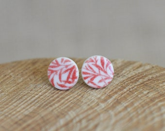 Red Bamboo Porcelain  Ceramic Stud Earrings, Print Earrings by Mrs Peterson Pottery