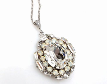 Swarovski clear white and white opal vintage oval baguette foiled crystal rhinestone pendant with white gold plated chain statement necklace