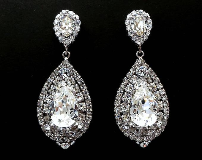 wedding jewelry bridal bridesmaid gift prom party christmas teardrop cubic zirconia swarovski clear crystal fancy rhinestone post earrings