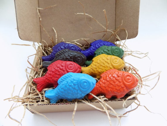 CRAYONS ECO Friendly Natural Kids Handmade Fish Soy Coloring Crayons, Gift for Kids, Kids Gift, Natural Toy, Party Favor