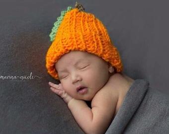 Crochet Pumpkin Baby Beanie size newborn to 12 months