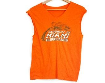 Vintage 90s University Of Miami T-Shirt/Tank Top/Cut Off Sleeves/Beach/Seapunk/Hippie