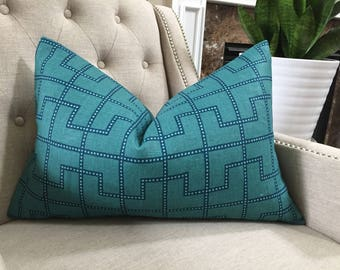 """Decorative Designer Pillow Cover - 16""""X24"""" - F.Schumacher - Celerie Kemble Bleecker print in Peacock - Pattern on the front"""