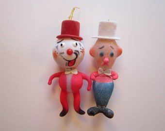 2 vintage flocked ornaments - hobos, clowns, figural flocked ornaments