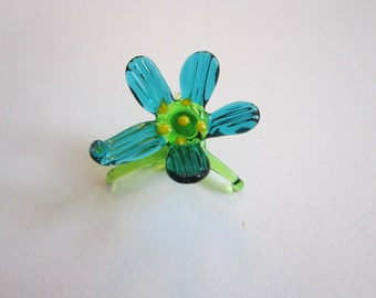 vintage blown glass miniature flower - art glass flower - green and turquoise, aqua and green blown glass flower