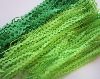 45 yards rick rack trim - light green and medium green - 2 sizes