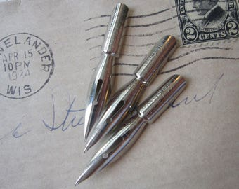 3 vintage pen nibs - Sheffield Series Eugene Adcock No. 452 Nickel Alloy - new old stock, NOS, pen nibs, calligraphy supplies